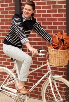 how to wear stripe sweater over plaid button down with loafers!