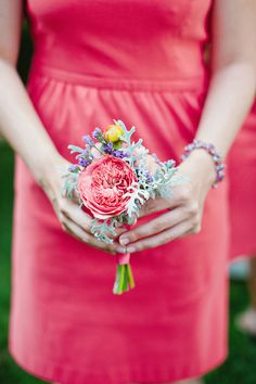 Bright and unique bouquets match the bridesmaids dresses perfectly.  Photo byAmanda Watson Photography. www.wedsociety.com  #wedding #bouquet