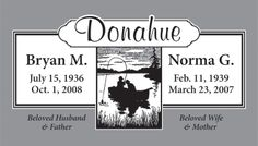 A Beautiful Headstone Design with Fishing Scene for a Married Couple.