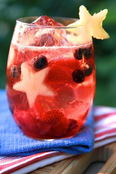 kid friendly fruit spritzer:1)  Place a few strawberries, blueberries and chunks of pineapple in a glass. 2)  Muddle the fruit by mashing it with a wooden spoon or muddler (if you have fancy barkeep type equipment). 3) Toss in some ice cubes and bits of the aforementioned fruits. 4) Pour in a favorite ginger ale or lemon lime soda.