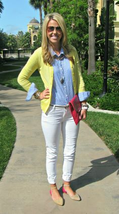 gingham shirt, yellow cardigan and white pants combo