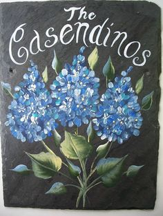 PERSONALIZED Custom Hand Painted Slate Welcome Sign BLUE HYDRANGEAS