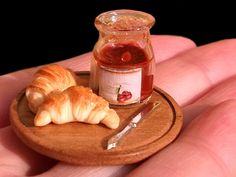 1/12 scale miniature Croissants and Cherry Jam - From After Dark miniatures.