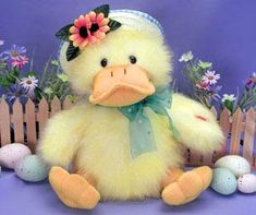 "Singing Daisy Duck    Singing Daisy Duck is a 12 inch plush duck that sings ""You are my Sunshine"".  Perky yellow with a daisy-trimmed spring bonnet, this is the perfect gift to say ""Happy Easter"", ""Happy Spring"", or ""I Love You!""  Send one to your Sunshine today!  $39.99  http://www.littlegiftbasketboutique.com/item_400/Singing-Daisy-Duck.htm"