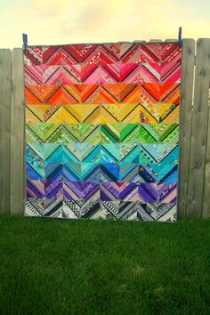 Double Rainbow Quilt... link to the tutorial to make the string blocks ~ Kenda's Crafts