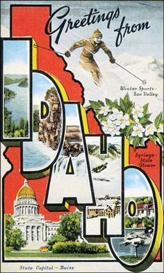 GREETINGS FROM IDAHO SKI WINTER SPORTS SUN VALLEY USA VINTAGE