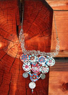 Marta Lelek/jamfashion - multicoloured necklace - polymer clay, wire, beads
