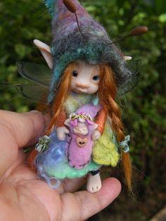 sweet bug fairie fairy ooak polymer posable by throughthemagicdoor, $155.00