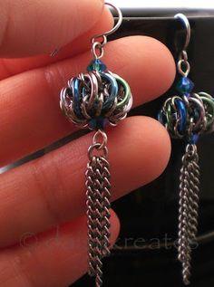 Iris Genie Bottle Earrings - aka. Chainmaille Whirlybird Earrings