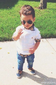 Toddler aviators and preppy sweater (even though the sunglasses would be broken by noon). Little boy fashion.