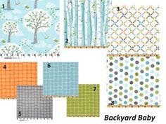 """Baby Boy Crib Bedding Birch Trees """"Backyard Baby"""" Theme Custom Set. $180.00, via Etsy."""