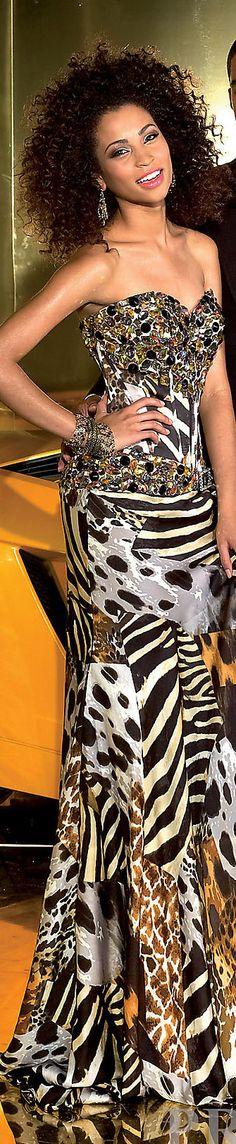 Fashion long formal dress #strapless #glitter #sexy #animalprint #gold #black