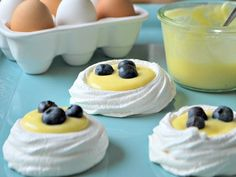 Pavlova Nests With Lemon Curd and Berries for Easter