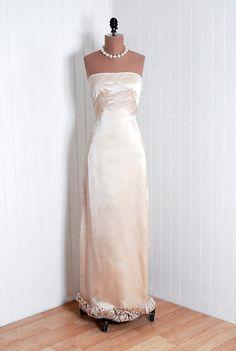 Evening Dress, Seymour Jacobson: 1950's, American, shimmer Origami-ruffle silk satin.