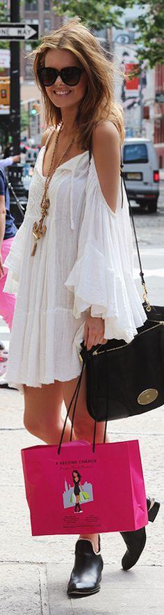 Boho, hippie chic white dress