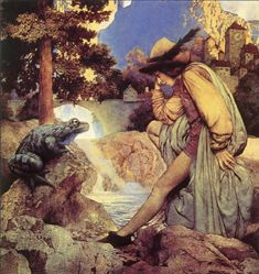 """The Frog Prince from Fairy Tales of the Brothers Grimm ~ Maxfield Parrish ~ Best seen in the enlarged view. ~ Miks' Pics """"Artsy Fartsy Vl"""" board @ http://www.pinterest.com/msmgish/artsy-fartsy-vl/"""