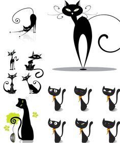 кот черно рисунок