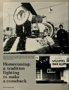 """Spectrum Green Yearbook, 1977. Ohio University Homecoming,"""" Steve Voorhees of Sigma Phi Epsilon walks along side his fraternity's winning homecoming float during during the parade, Sigma Alpha Epsilon fraternity displays their flag and welcome banner for their alumni"""", Fall 1976, Ohio University Archives"""