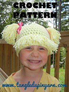 Cabbage patch kid, crochet hat pattern