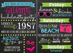 Custom Neon 80's themed Bachelorette Party by OohLaLlew on Etsy, $36.00