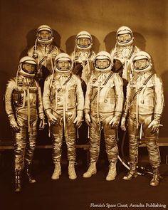 """On this Day in History, April 9, 1959: NASA introduced America's first astronauts who became known as the Original Seven (pictured) and were chosen for the country's first space program """"Project Mercury"""""""