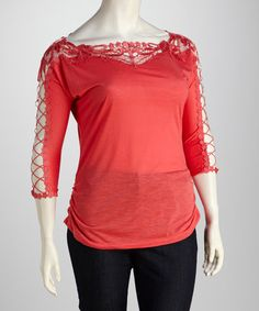 Take a look at this Pink Ruched Lace Plus-Size Top by C.O.C. on