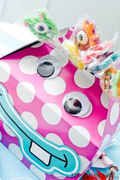 Monster birthday party on Kara's Party Ideas- Monster suckers available in Kara's Shop- www.KarasPartyIdeas.com/shop