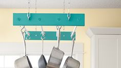 DIY: hanging kitchen pot and pan rack
