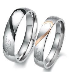 Verlobungsring Partnerring Edelstahl schwarz vergoldet Herz