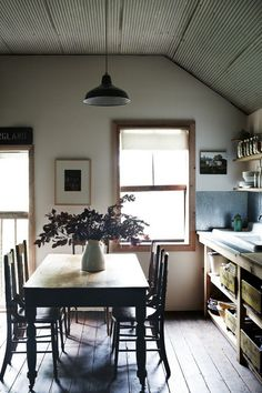 Tin Ceiling Rustic Eat-In Kitchen | Remodelista