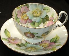 Aynsley Pastel Pink Blue Wild Roses Tea cup and Saucer