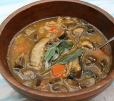 Slow cooker mushroom-barley soup.Delicious barley soup with vegetables cooked in slow cooker.