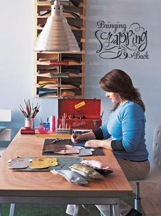 """""""Bringing Scrapping Back"""" vinyl lettering hobby room wall decor at Lacy Bella Designs www.lacybella.com"""