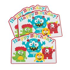 Mini Monster Place Mats - OrientalTrading.com