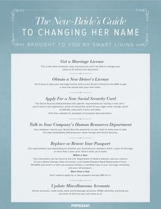 A Bride's Guide to Name Changing After Marriage @Colby Wyckoff Wyckoff Wyckoff Childs thought this might be useful! it was a pain to figure out what I actually needed to do.