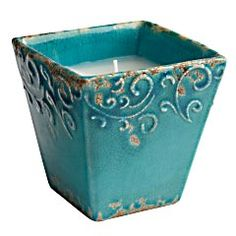 Turquoise Filled Candle