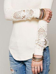 jean, sweater, woman fashion, cuff, white fashion, crochet, sleev, black, shirt