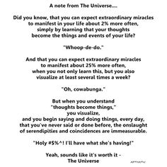 A note from the universe...