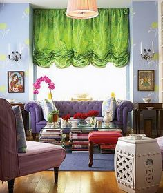 Colorful Bohemian Living Room with Purple Couch. I love everything about this.
