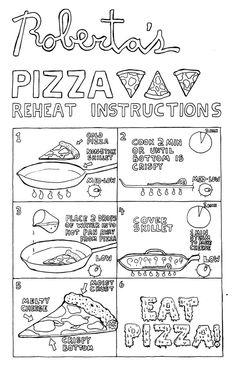 Pizza reheat instructions, by Anthony Falco of Roberta's