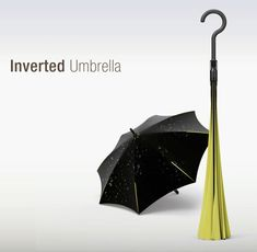 Outside-In Umbrella    Umbrellas can be incredibly useful for keeping you dry… until you close it and the thing ends up soaking you itself because it's wet! This clever twist of the classic form turns inside-out when you're not using it, keeping the wet surface away so you stay dry when you make it in from the rain!    Designers: Ahn Il-Mo, Kim Tae-Han, & Seo Dong-Han
