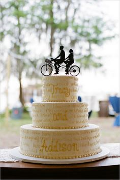 tandem bike wedding cake topper