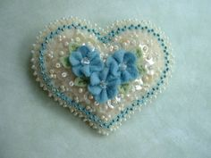 Beaded Felt  Heart - blue flowers