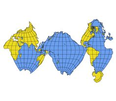 This interrupted map by Athelstan Spilhaus leaves continents completely intact and interrupts oceans only at minimum junctions.  The projection is a transverse sinusoidal equal-area with central meridians at 60°E, 165°W and 45°W.
