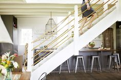 Rope stair rails.