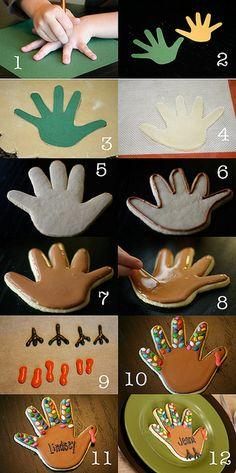 Fall/Thanksgiving: Handprint turkey cookies ...love these! #thanksgiving