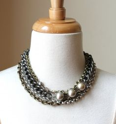Layered Chain Choker from Vintage Materials