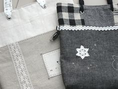linen tote bag, lace, plaid fabric
