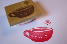 Smiling Tea Cup hand-carved stamp by Doodle Bug Design