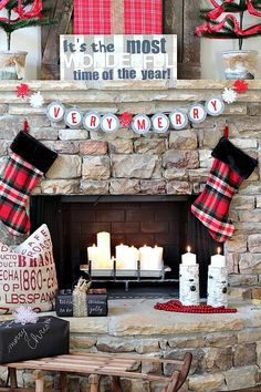 Plaid Sign on Mantel